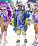 RIO DE JANEIRO - FEBRUARY 10: A womans and man in costume dancin. G and singing on carnival at Sambodromo in Rio de Janeiro February 10, 2013, Brazil. The Rio Royalty Free Stock Photo