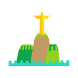 Rio De Janeiro Flat Background Vector. Illustration. Brazil landscape element on white background. Statue of Jesus on the mountain. Travel composition. Travel Stock Images