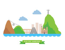 Rio de Janeiro flat background vector Stock Photo