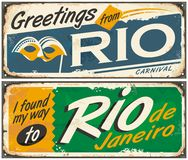 Rio de Janeiro. Greetings from Brazil, retro tin signs set on old metal texture Stock Image