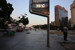 Rio de Janeiro har den varmmaste vinterdagen: 35 grader celsiust Royaltyfri Bild