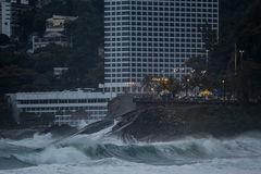 Rio de Janeiro has rough seas on a hangover day. Rio de Janeiro, Brazil. 11th August, 2017. The Brazilian Navy warned about the possibility of waves up to 4 Stock Image