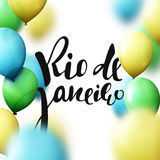 Rio de Janeiro inscription, background balloons colors of Brazilian flag. Royalty Free Stock Photos