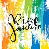 Rio de Janeiro inscription, background colors of the Brazilian flag. Stock Image