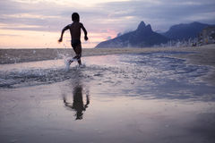 Rio de Janeiro Ipanema Beach Scenic-de Bezinning van de Schemerzonsondergang Stock Foto