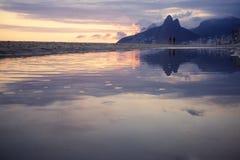 Rio de Janeiro Ipanema Beach Scenic Dusk Sunset Reflection Royalty Free Stock Photos