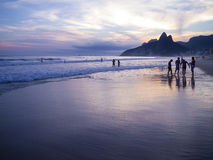 Rio de Janeiro Ipanema Beach Scenic Dusk Sunset Reflection Royalty Free Stock Photo