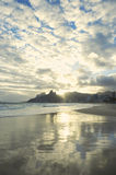 Rio de Janeiro Ipanema Beach Scenic Sunset Reflection Royalty Free Stock Photography