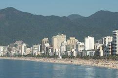 Rio de Janeiro Ipanema Beach Skyline Brazil. Rio de Janeiro Ipanema Beach Brazil city skyline calm morning view Stock Image