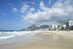 Rio de Janeiro Ipanema Beach Skyline Two Brothers Mountain Brazil Stock Photos
