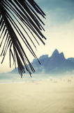 Rio de Janeiro Ipanema Beach Two Brothers Mountain Brazil. Rio de Janeiro Ipanema Beach Brazil with Two Brothers Dois Irmaos Mountain and palm tree Stock Photo