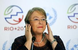 Michelle Bachelet. Rio de Janeiro, June 24, 2012. Chilean President Michelle Bachelet attends a conference during Rio+20, in Rio Centro, in the city of Rio de royalty free stock image