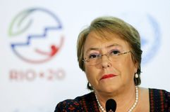 Michelle Bachelet. Rio de Janeiro, June 24, 2012. Chilean President Michelle Bachelet attends a conference during Rio+20, in Rio Centro, in the city of Rio de royalty free stock photos