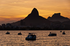 Rio de Janeiro Lagoon by Sunset with Pedal Boats Royalty Free Stock Image