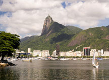 Rio de Janeiro landscape. The classic Corcovado statue from a different point of view Stock Image