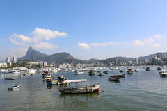 Rio de Janeiro Landscape. Landscape view of Guanabara Bay , with Christ the Redeemer Corcovado at the back Stock Photo