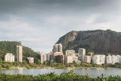 Rio de Janeiro luxury apartments near Lagoa Rodrigo de Freitas. Frame of reential buildings overlooking Lagoa Rodrigo de Freitas, Rio de Janeiro, Brazil Stock Image