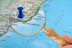 Rio de Janeiro map. Magnifying glass over Rio de Janeiro, Brazil  map with destination tack Stock Photos