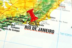 Rio De Janeiro map with pin. Close up of Rio De Janeiro, Brazil on a map with red pin Royalty Free Stock Images