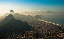 Rio de Janeiro in the Morning Haze. Rio de Janeiro City South Zone Aerial View with Hills in the Morning Haze Stock Photos