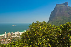 Rio de Janeiro Mountain Landscape. View of Sao Conrado Beach Through Trees and Pedra da Gavea Rock, One of the Tallest Rocks in the World Ending Directly in the Royalty Free Stock Photo