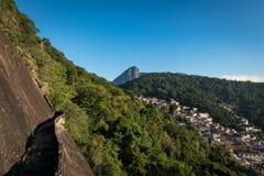 Rio de Janeiro Mountains and Favela with Corcovado Royalty Free Stock Photo