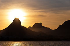 Rio de Janeiro Mountains and Lake by Sunset Royalty Free Stock Photos