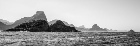 Rio de Janeiro Mountains. Saw from the ocean point of view Royalty Free Stock Photo