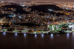 Rio de Janeiro at Night. View of Rio de Janeiro at Night from on top of Sugar Loaf Mountain Royalty Free Stock Image