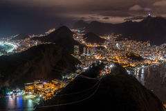 Rio de Janeiro at Night. View of Rio de Janeiro at Night from on top of Sugar Loaf Mountain Royalty Free Stock Images