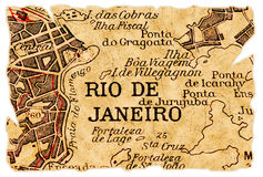 Rio de Janeiro old map. Rio de Janeiro, Brazil on an old torn map from 1949, isolated. Part of the old map series Stock Photos