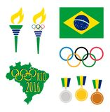 Rio De Janeiro Olympics. Vector set of four olympics icons and graphics with brazilian flag's colors. Eps file available Stock Photo