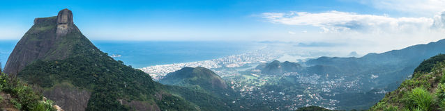 Rio de Janeiro Panorama, Brazil - Barra da Tijuca area. Panorama top view of mountains and beaches of Rio de Janeiro. Gavea Stone, Barra da Tijuca Beach. Picture Royalty Free Stock Photography