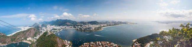 Rio de janeiro, panorama da paisagem da opinião da folha do açúcar Foto de Stock