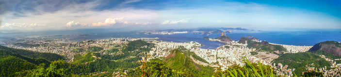 Rio de Janeiro. Panoramic photo of Rio de Janeiro in Brasil with its greenery, buldings and sea in distance stock images