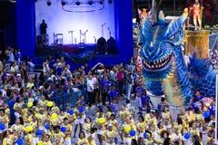 RIO DE JANEIRO, RJ /BRAZIL - January 17, 2016. World's famous carnival in Rio de Janeiro, samba school parading in Sambadromo, the carnival stadium, dragon stock images