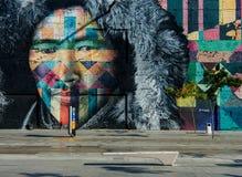 Maua pier VLT line 1 wall paining. RIO DE JANEIRO, RJ , BRAZIL - May 22, 2018: Famous wall painting along VLT Carioca line 1 near station Parada dos Navios, Pier royalty free stock image
