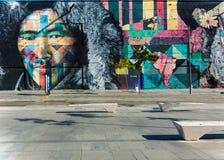 Maua pier VLT line 1 wall paining. RIO DE JANEIRO, RJ , BRAZIL - May 22, 2018: Famous wall painting along VLT Carioca line 1 near station Parada dos Navios, Pier royalty free stock photos