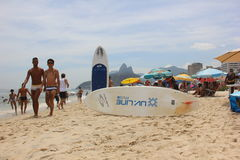 Rio de Janeiro's beaches are crowded on the eve of the Carnival Stock Photography