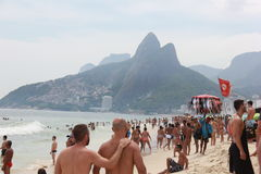 Rio de Janeiro's beaches are crowded on the eve of the Carnival Royalty Free Stock Photo