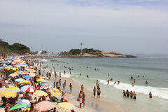 Rio de Janeiro's beaches are crowded on the eve of the Carnival Royalty Free Stock Images