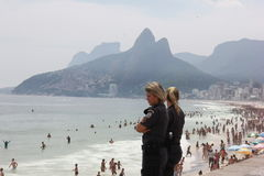 Rio de Janeiro's beaches are crowded on the eve of the Carnival Stock Photos