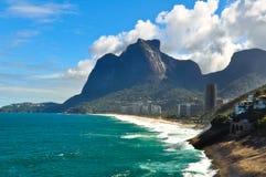 Rio de Janeiro. Sao Conrado beach and Pedra Bonita mountain Royalty Free Stock Image