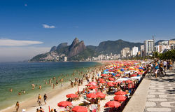 Summer Seashore Rio de Janeiro. Ipanema beach, one of the most famous beach of Rio de Janeiro City, in a sunny Sunday stock photography