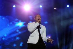 John Legend. Rio de Janeiro, September 20, 2015, Singer John Legend, during his show at Rock in Rio 2015 in the city of Rio de Janeiro, Brazil stock photos
