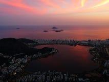 Rio de Janeiro sikt från Corcovadoen, Kristus Förlossare (statyn) arkivbilder