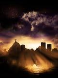 Rio de Janeiro Silhouette Dawn Royaltyfri Bild