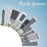 Rio de Janeiro Skyline avec Gray Buildings, le ciel bleu et le PS de copie illustration stock
