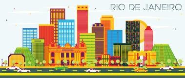 Rio De Janeiro Skyline avec les bâtiments de couleur et le ciel bleu illustration stock