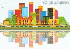 Rio De Janeiro Skyline avec les bâtiments de couleur, le ciel bleu et le Reflec illustration stock
